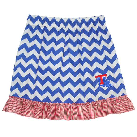 Louisiana Tech Ruffle Chevron Skirt
