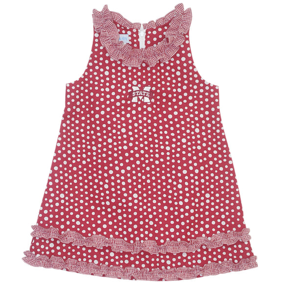 Mississippi State Ruffle Polka Dots Dress