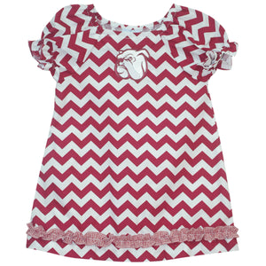 LRG Mississippi State Ruffle Chevron A Line Dress SS