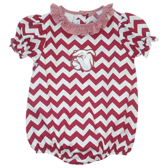 Mississippi State Ruffle Chevron Girls Bubble SS