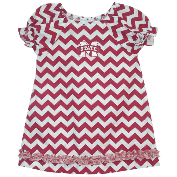Mississippi State Ruffle Chevron A Line Dress SS