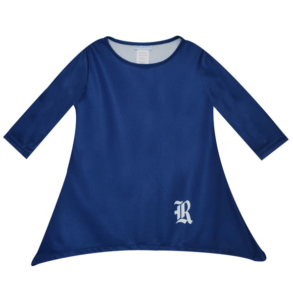 NCAA Rice University Solid Royal Long Sleeve Tunic Blouse