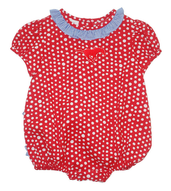 SMU Ruffle Polka Dots Girls Bubble Short Sleeve