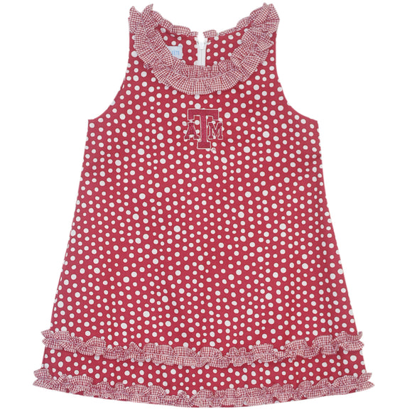 Texas AM Ruffle Polka Dots Dress