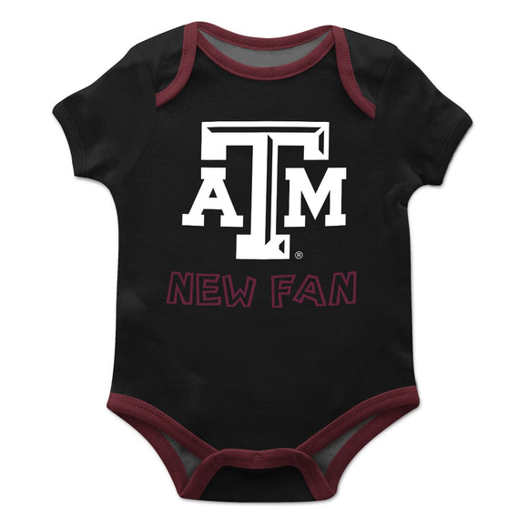 Texas AM Solid Black Boys Onesie Short Sleeve
