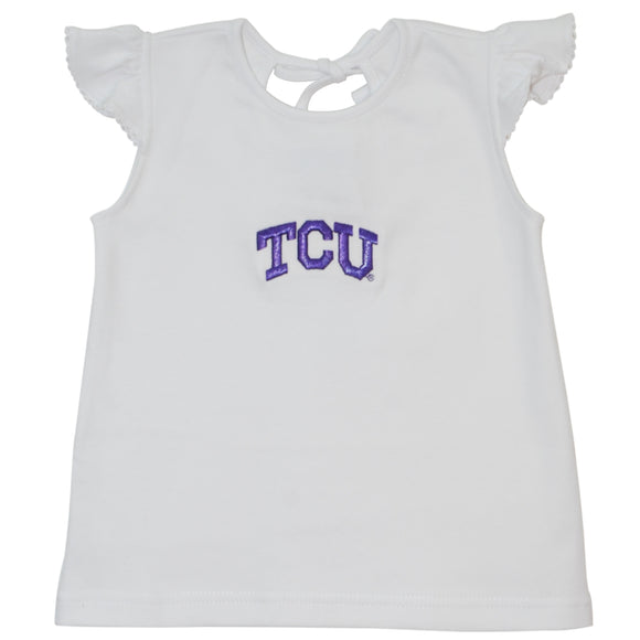 Embroidered TCU Girls Knit Top