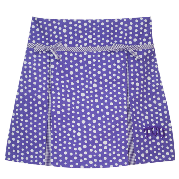 TCU Pleated Polka Dot Skort