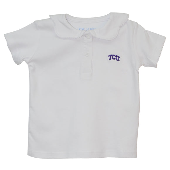 TCU Embroidered Pico Blouse