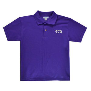 TCU Horned Frogs Purple Polo Box Shirt Short Sleeve