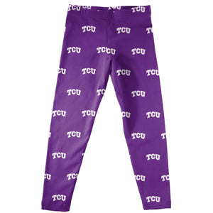 TCU Print Purple Leggings