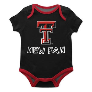 Texas Tech Solid Black Boys Onesie Short Sleeve