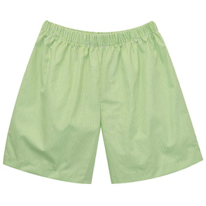 Lime Green Mini Check Boys Pull On Short