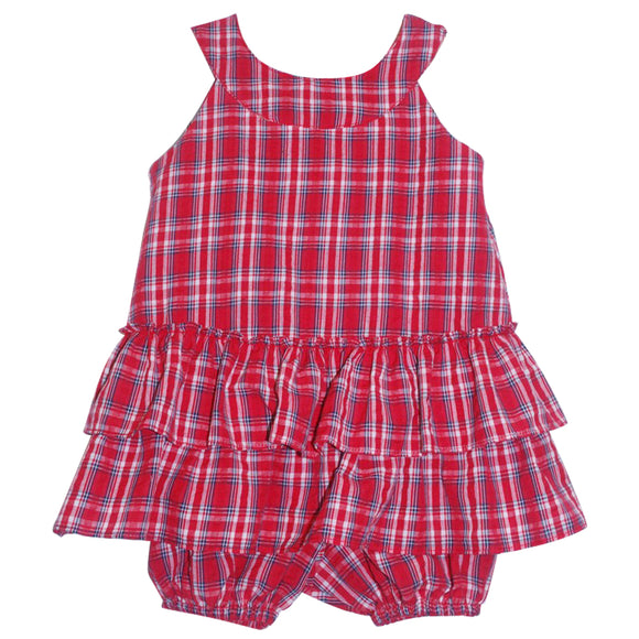 Simi Navy Red Plaid Baby Sundress & Panty