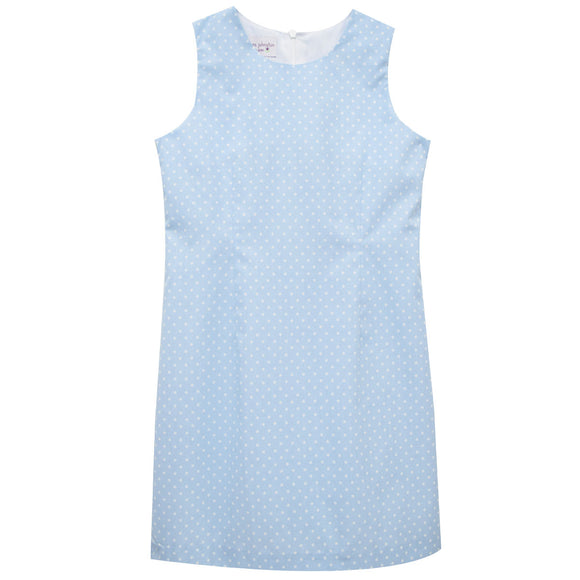 Blue and White Dot Sleeveless Shift Dress