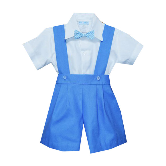 Blue Twill Boys 3pc Short and Shirt Short Sleeve