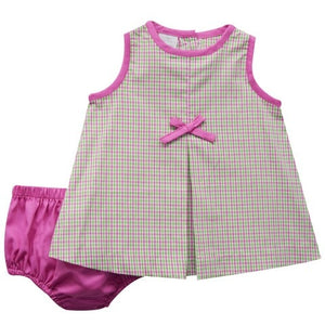 Hot Pink and Pink Green Check Sleeveless Dress and Panty