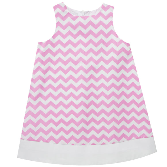 Pink Zig Zag Print Sleeveless Shift Dress