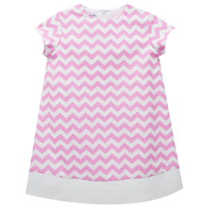 Pink Zig Zag Print short sleeve Shift Dress