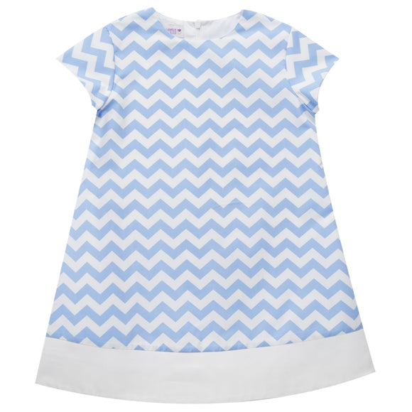 Blue Zig Zag Print Shift Dress Short Sleeve