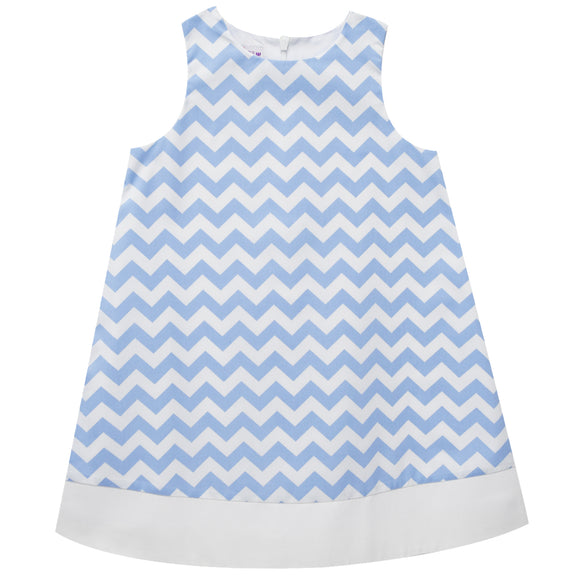 Blue Zig Zag Print Sleeveless Shift Dress