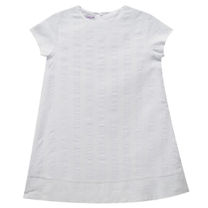 White Shadow Stripe Shift Dress Short Sleeve