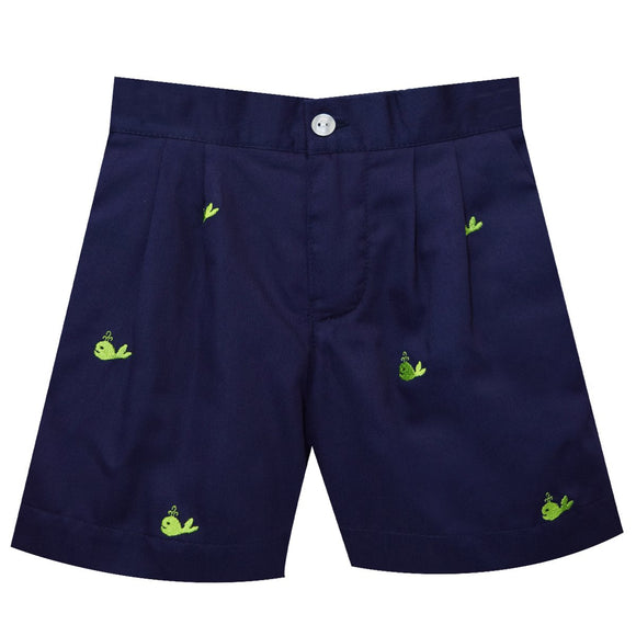 Whales Embroidery Boys Zip Fly Short