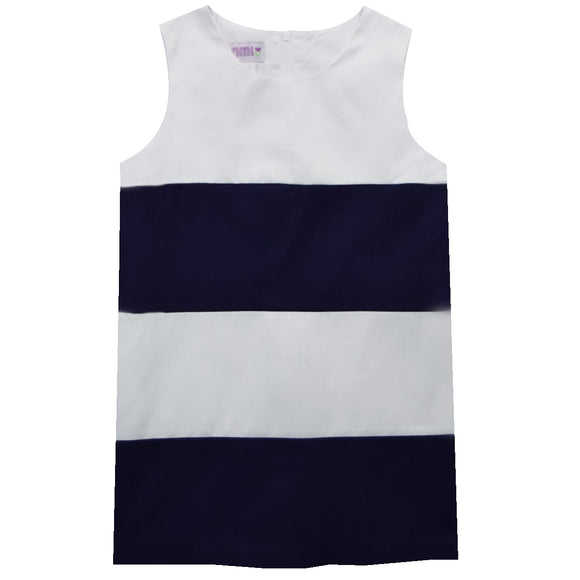 Color Blocks Navy and White Shift Sleeveless Dress