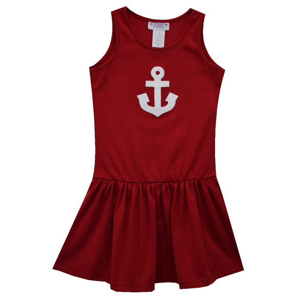 Anchor Away Applique Red Knit Dropped Waist Dress