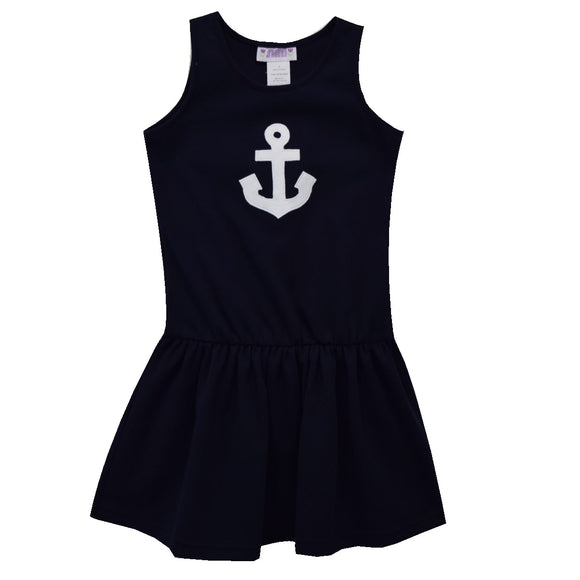 Anchor Away Applique Navy Knit Dropped Waist Dress