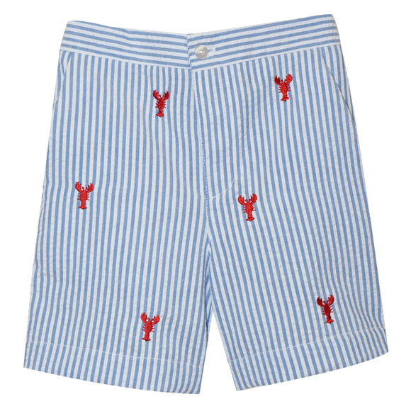 Lobsters Embroidered Blue Stripe Boys Zip Fly Short