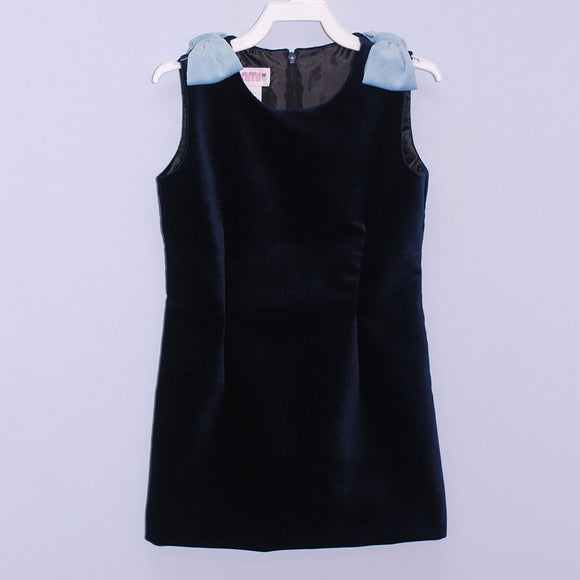 Dark Navy Velvet Sheat Dress