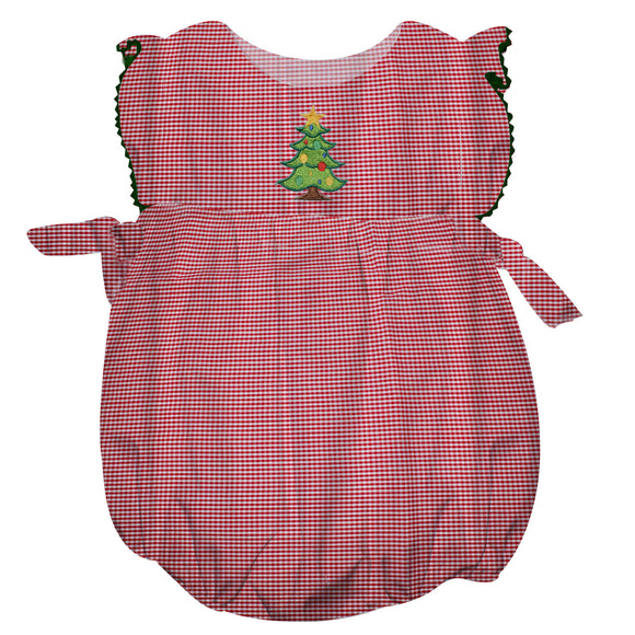 Xmas Tree Embroidery Red Microcheck Bubble