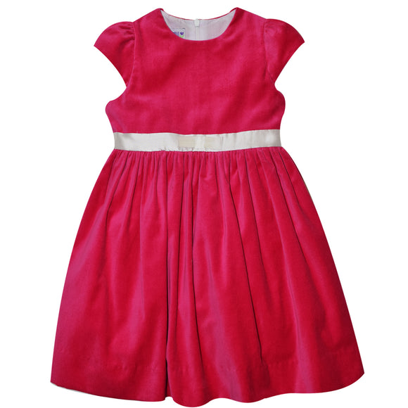 Hot Pink Velvet Short Sleeve Dress