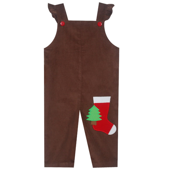 Xmas Stocking Applique Girls Overall