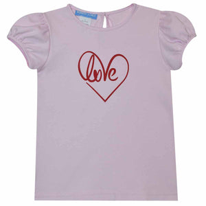 Love Heat Transfer Pink Girls Top