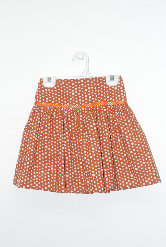 Burnt Orange Polka Dot Skirt