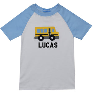 School Bus Applique and Name Short Sleeve Boys T-Shirt