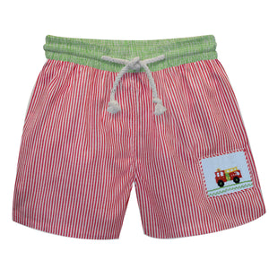 Firetruck Smocked Red Stripe Swimtrunks