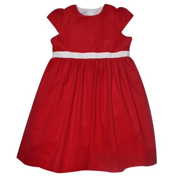 Red Corduroy Short Sleeve Dress