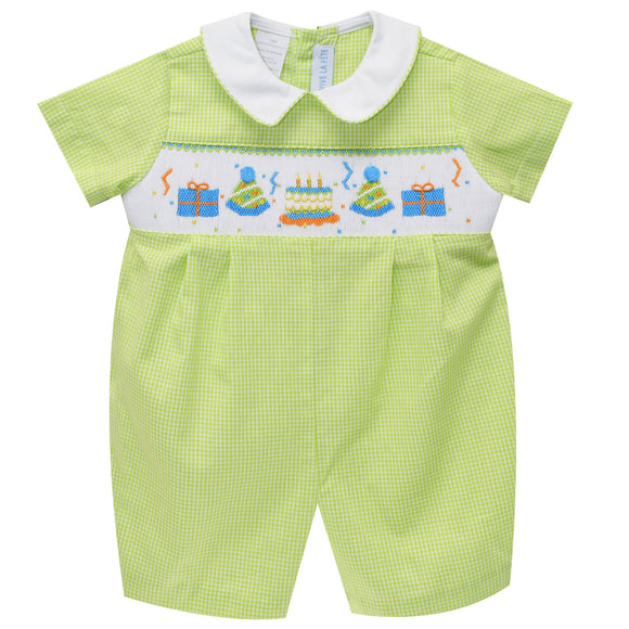 Birthday Party Smocked Boys Romper