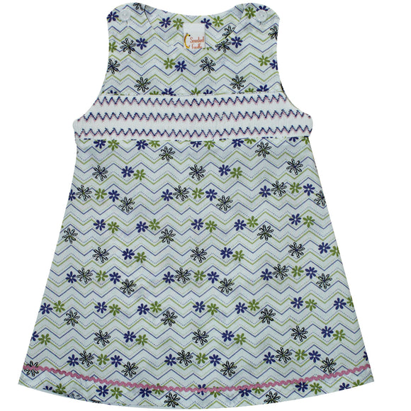 Geometric Smocked Floral Print Girls Jumper