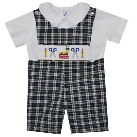 Back To School Smocked Boys Shortall and Shirt