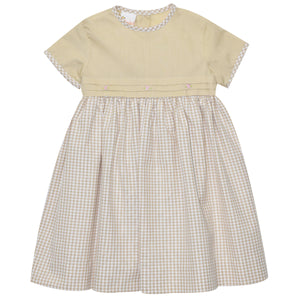 Khaki Check Dress Short Sleeve