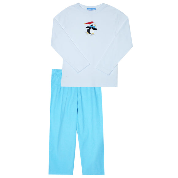 Penguin Ice Skating Embroidery Long Sleeve  Boys Pant Set