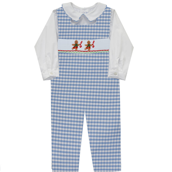 Gingerbread Smocked Light Blue Check Boys Long Sleeve Overall and Shirt