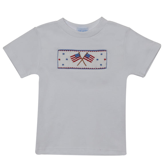 Americana Smocked White Knit Boys Tee Shirt Short Sleeve