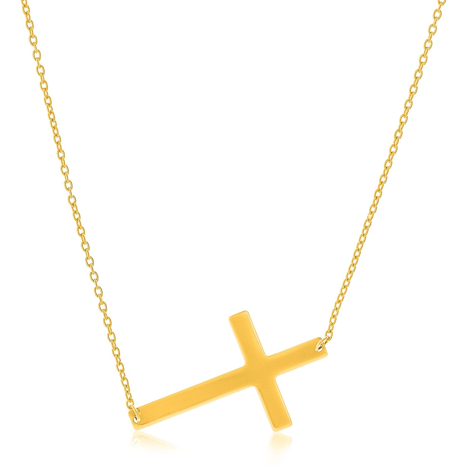 Flat Crucifix Necklace in 14k Yellow Gold