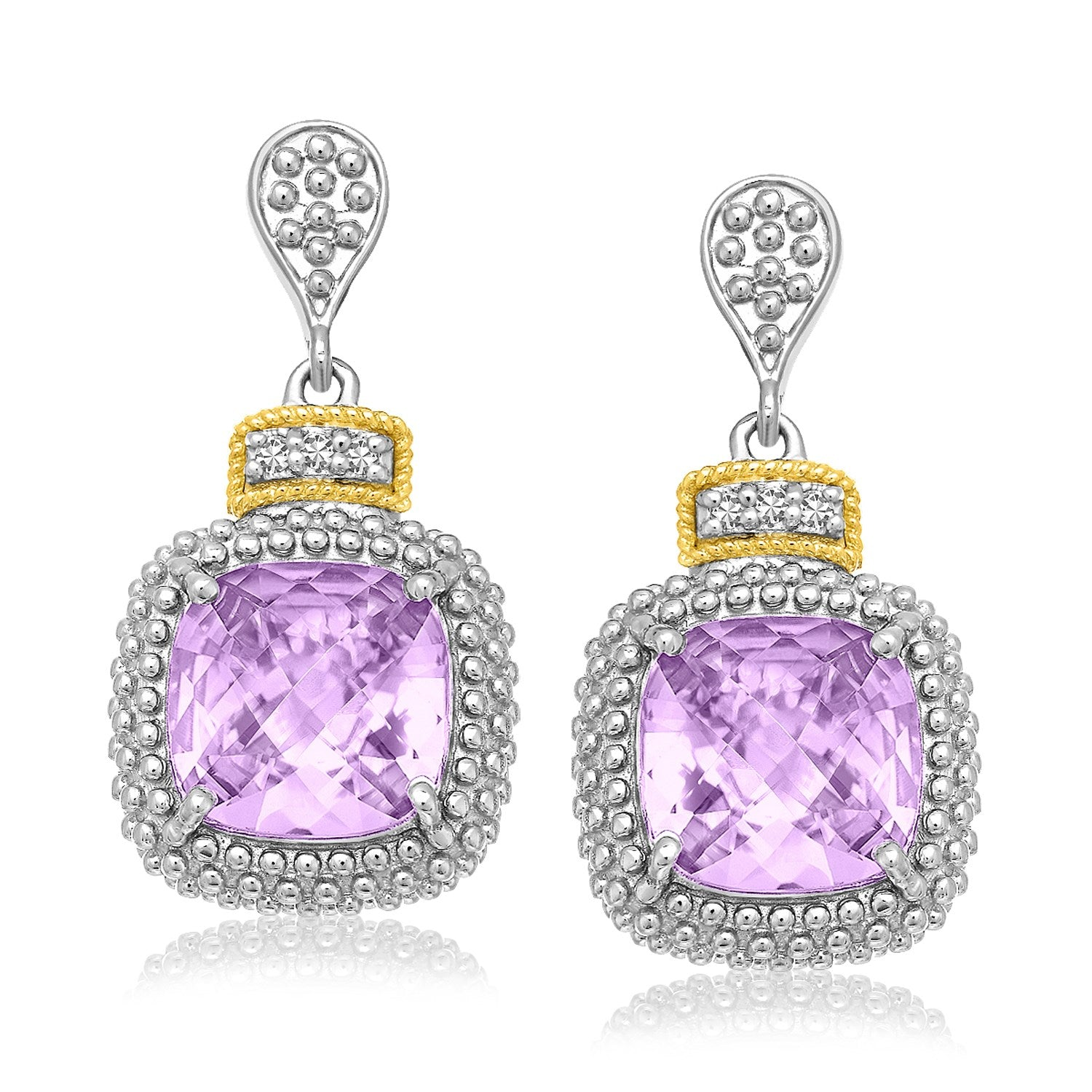 Fancy Cushion Amethyst and Diamond Drop Earrings in 18k Yellow Gold and Sterling Silver