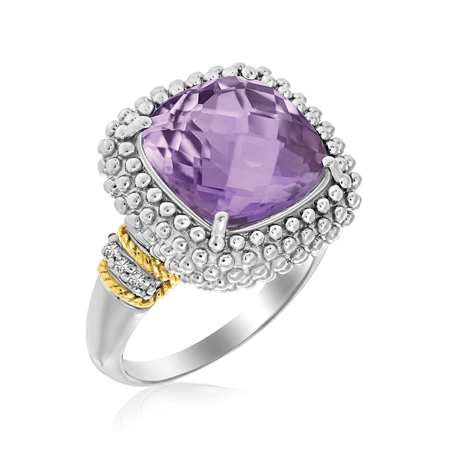 Cushion Amethyst and Diamond Accented Popcorn Ring in 18k Yellow Gold and Sterling Silver