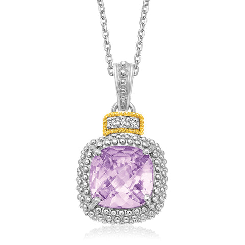 Amethyst and Diamond Popcorn Motif Cushion Pendant in 18k Yellow Gold and Sterling Silver